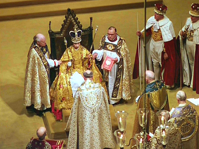 The Queen Enthroned - Coronation of Queen Elizabeth II - Westminster Abbey - London 1953