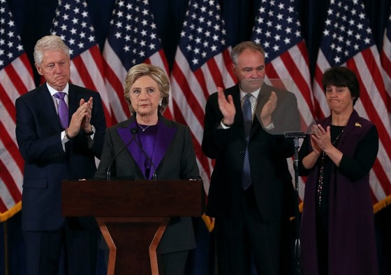 Even Tim Kaine's wife (far right) was dressed in purple during Clinton's inflammatory concession speech that was actually a veiled call to insurrection.