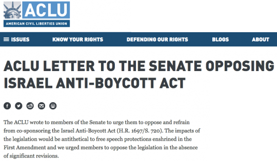 aclu letter opposeing anti boycott act
